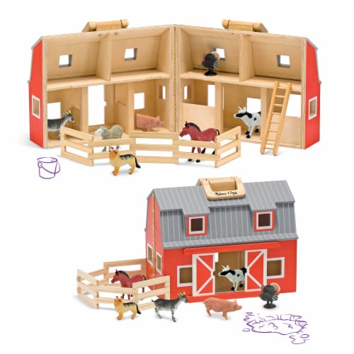 Melissa and Doug® Fold and Go Wooden Barn Perspective: back