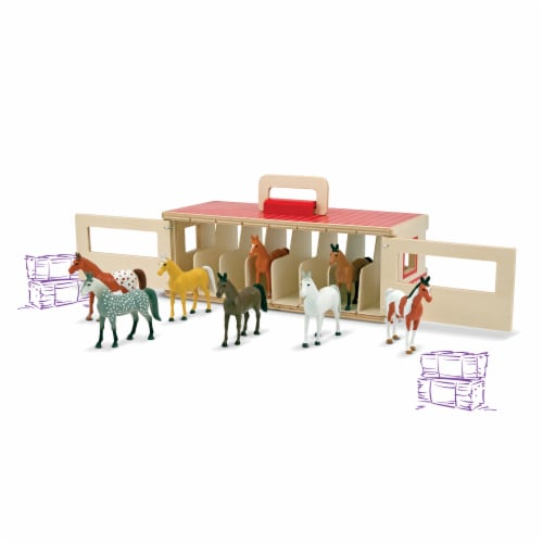 Melissa & Doug® Take-Along Show-Horse Stable Toy Perspective: back