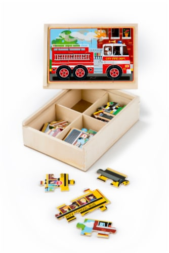 Melissa & Doug® Vehicle Puzzles in a Box Perspective: back