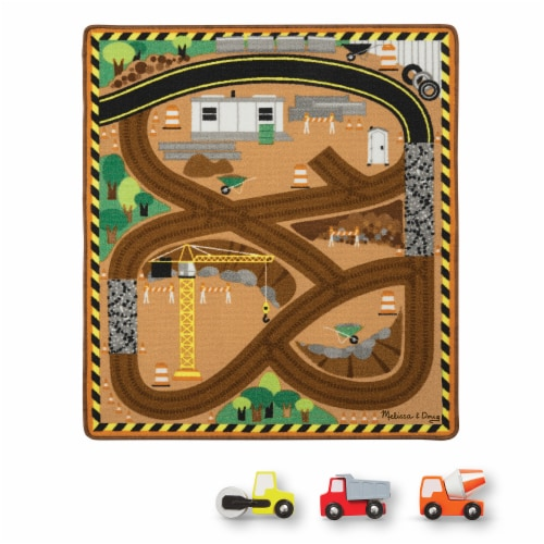 Melissa & Doug® Round the Construction Zone Work Site Rug and Vehicle Set Perspective: back