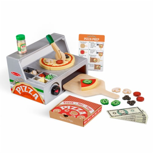 Melissa & Doug® Top & Bake Wooden Pizza Counter Toy Perspective: back