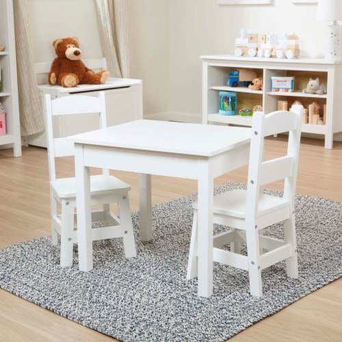 Melissa & Doug® Wooden Table & Chairs - White Perspective: back