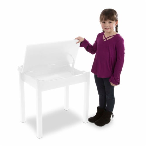 Melissa & Doug® Wooden Lift-Top Desk & Chair - White Perspective: back
