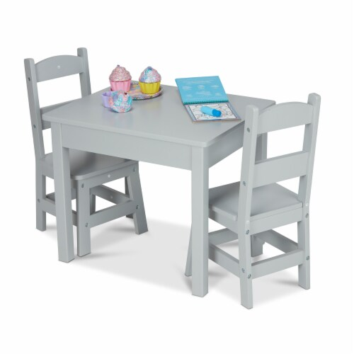 Melissa & Doug® Wooden Table & Chairs Set - Gray Perspective: back