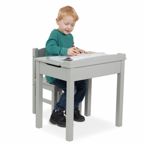 Melissa & Doug® Wooden Lift-Top Desk & Chair - Gray Perspective: back