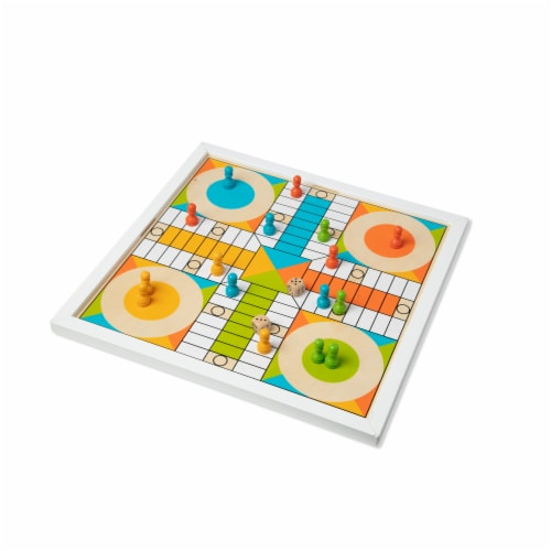 Melissa & Doug® Wooden Chess & Pachisi Game Board Perspective: back