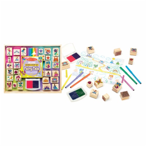 Melissa & Doug® Deluxe Fairy Tale Wooden Stamp Set Perspective: back