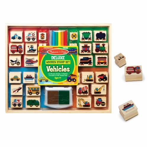 Melissa & Doug® Vehicles Deluxe Wooden Stamp Set Perspective: back