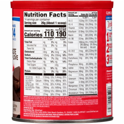 SlimFast Original Rich Chocolate Royale Meal Replacement Shake Mix Perspective: back