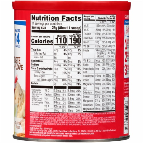 SlimFast Original French Vanilla Meal Replacement Shake Mix Perspective: back