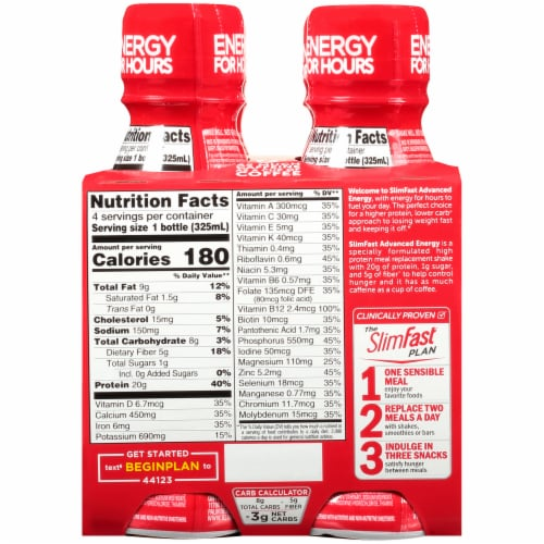 Slimfast Advanced Energy Mocha Cappuccino Meal Replacement Shakes Perspective: back