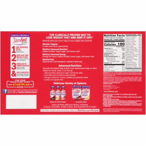 SlimFast Advanced Nutrition Creamy Chocolate Meal Replacement Shakes Perspective: back