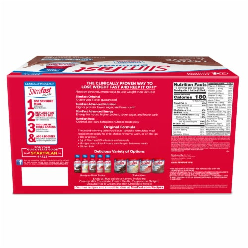 SlimFast Original Creamy Milk Chocolate Meal Replacement Shakes Perspective: back