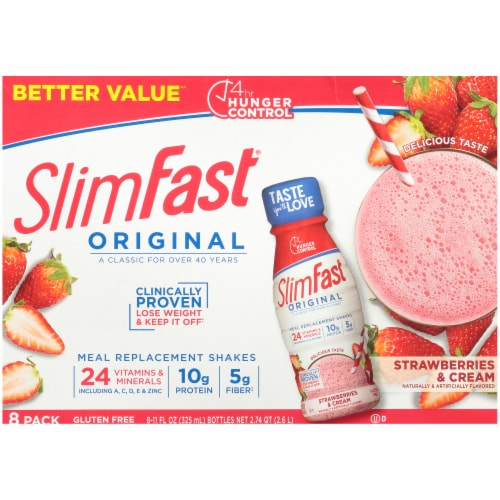 SlimFast Original Strawberries & Cream Ready To Drink Meal Replacement Shakes Perspective: back
