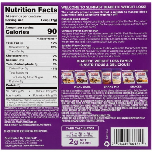 SlimFast Diabetic Weight Loss Peanut Butter Cup Snack Bars Perspective: back