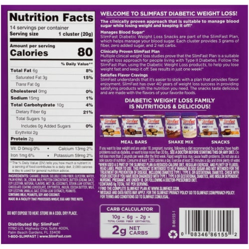 SlimFast Nutty Caramel & Chocolate Diabetic Weight Loss Snack 14 Count Perspective: back