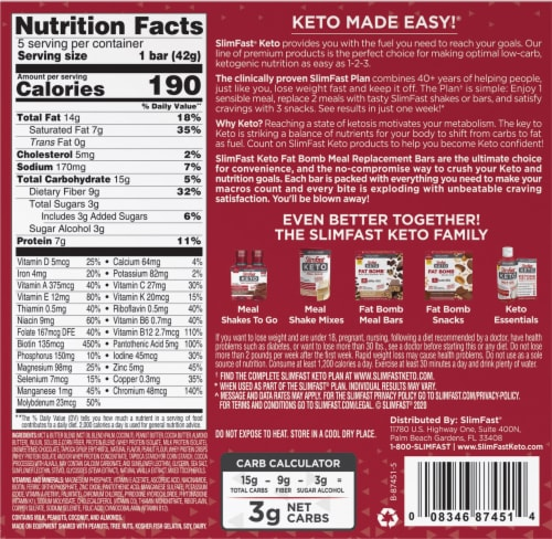 SlimFast Keto Whipped Peanut Butter Chocolate Meal Bars Perspective: back