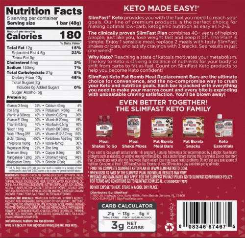 SlimFast Keto Nutty Caramel & Nougat Meal Replacement Bars Perspective: back