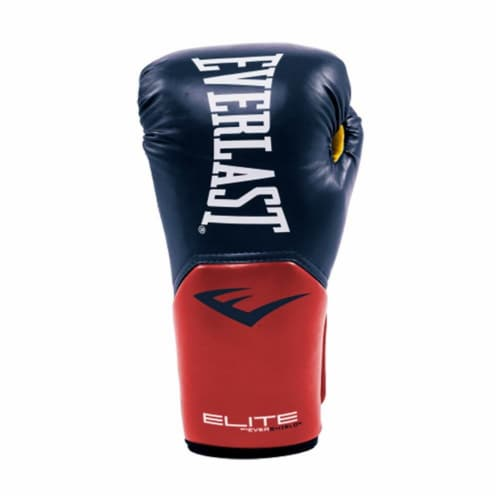 Everlast Pro Style Elite Workout Training Boxing Gloves Size 14 Ounces, Navy/Red Perspective: back