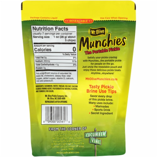 Mt. Olive Kosher Dill Pickle Chips Munchies Perspective: back