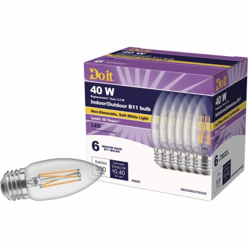 Do it 6pk 40wb11sw T20led Bulb 362228 Perspective: back