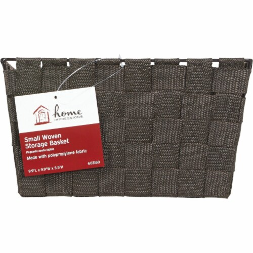 Home Impressions 9.75 In. x 5.5 In. H. Woven Storage Basket, Brown 799494-BR Perspective: back