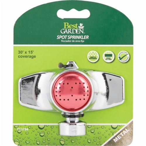 Best Garden Metal 15 Ft. x 30 Ft. Spot Stationary Sprinkler, Metallic & Pink Perspective: back