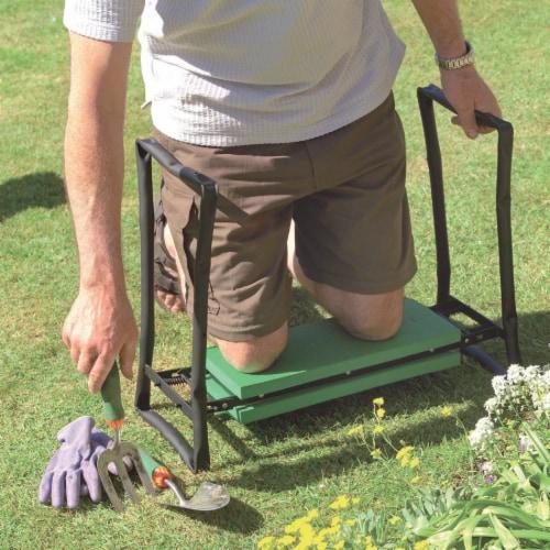 Best Garden Green Foam Pad w/Black Steel Frame Garden Kneeler Bench GM7104 Perspective: back