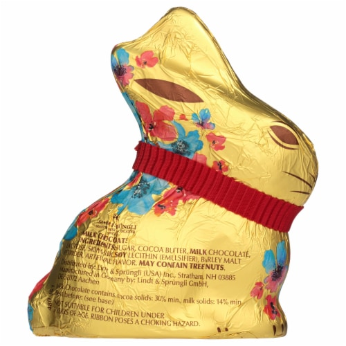 Lindt Milk Chocolate Gold Bunny Flower Edition Candy Perspective: back