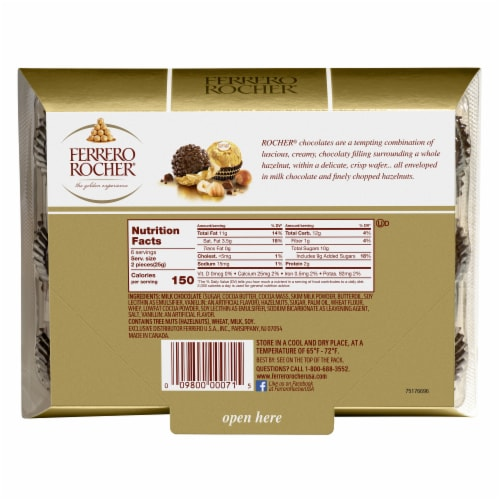 Ferrero Rocher Fine Hazelnut Chocolates Perspective: back