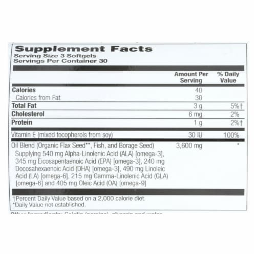 Health From the Sun Omega 3-6-9 the Total EFA 1200 mg Softgels Perspective: back