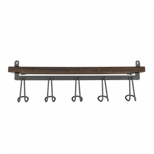 Spectrum Vintage 5-Hook Wall Mount Shelf - Wood Perspective: back