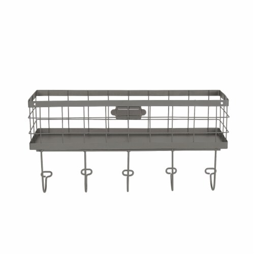Spectrum Vintage Basket & Hook Station Wall Mount - Gray Perspective: back