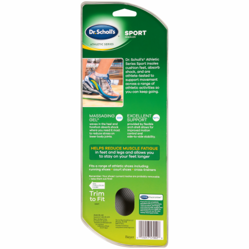 Dr. Scholl's Women's Sport Insoles with Massaging Ge Size 6-10 Perspective: back