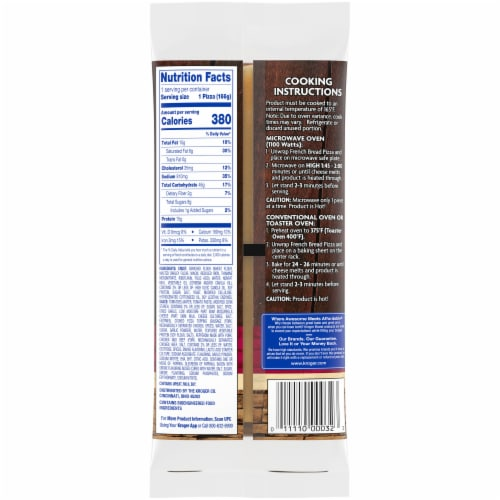 Kroger® Three Meat French Bread Pizza Perspective: back
