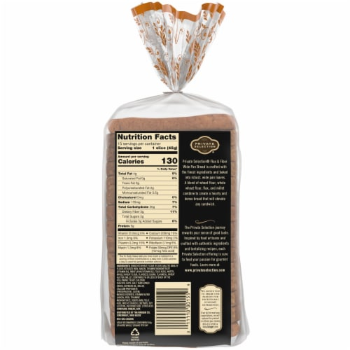 Private Selection® Flax & Fiber Sliced Wide Pan Bread Perspective: back