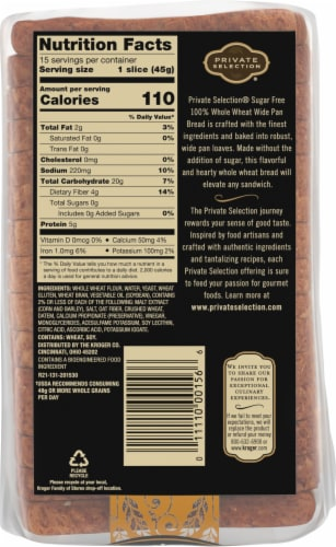 Private Selection™ Sugar Free 100% Whole Wheat Sliced Wide Pan Bread Perspective: back