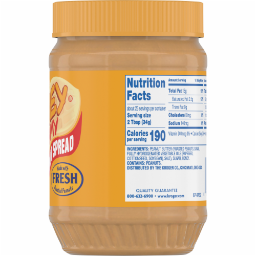 Kroger® Honey Creamy Roasted Peanut Spread Perspective: back