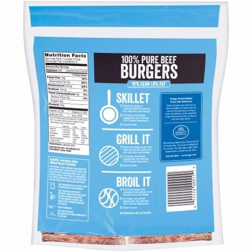 Kroger 91% Lean Frozen Ground Beef Burger Perspective: back