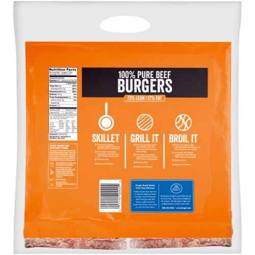 Kroger® 100% Pure Beef Quarter Pound Burgers Perspective: back