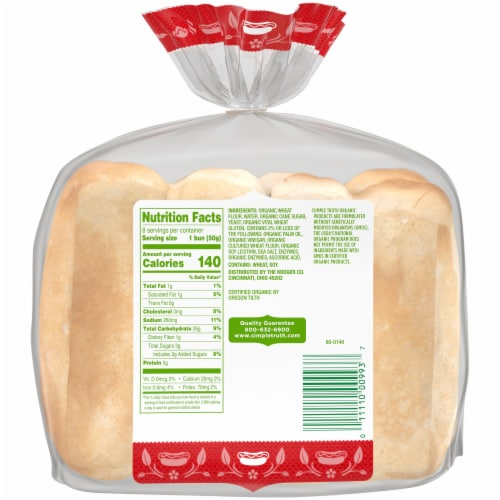 Ralphs Simple Truth Organic Hot Dog Buns 8 Count 14 Oz