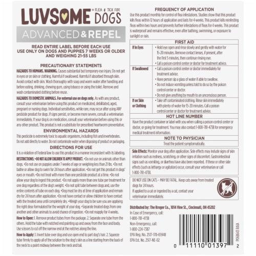 Luvsome Advanced + Repel Flea & Tick Drops for Dogs Perspective: back