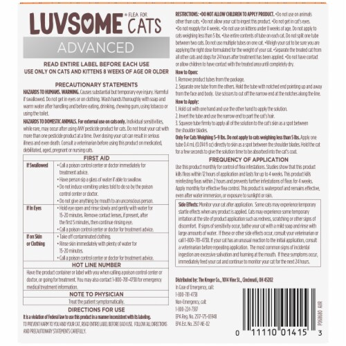 Luvsome Advanced Flea & Tick Drops for Cats Perspective: back