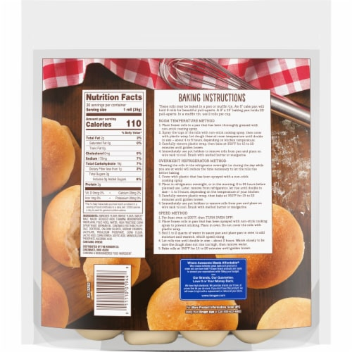 Kroger® Original Yeast Dinner Roll Dough Perspective: back
