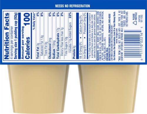 Kroger® Vanilla Pudding Snacks Perspective: back