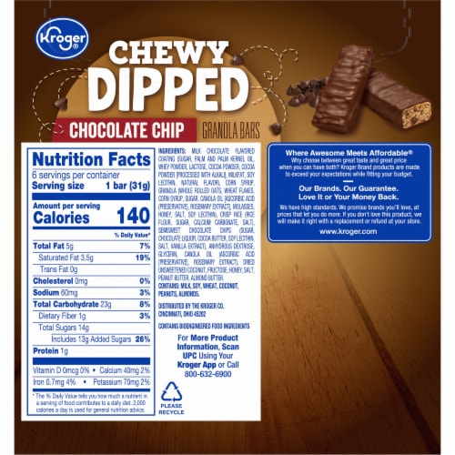 Kroger® Chewy Dipped Chocolate Chip Granola Bars Perspective: back