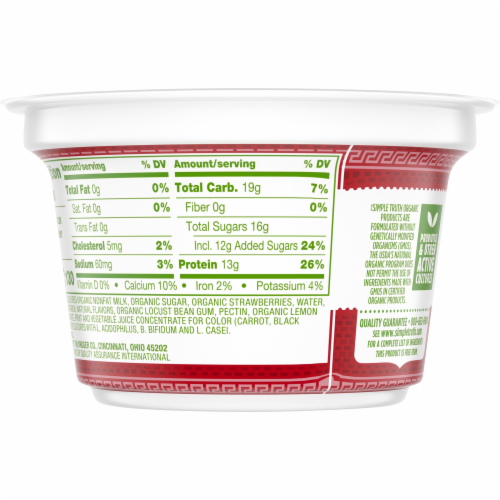 Simple Truth Organic™ Strained Strawberry Greek Nonfat Yogurt Perspective: back
