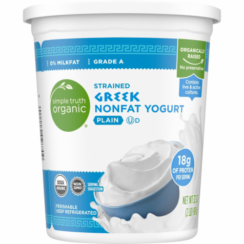 Simple Truth Organic® Plain Strained Greek Nonfat Yogurt Perspective: back