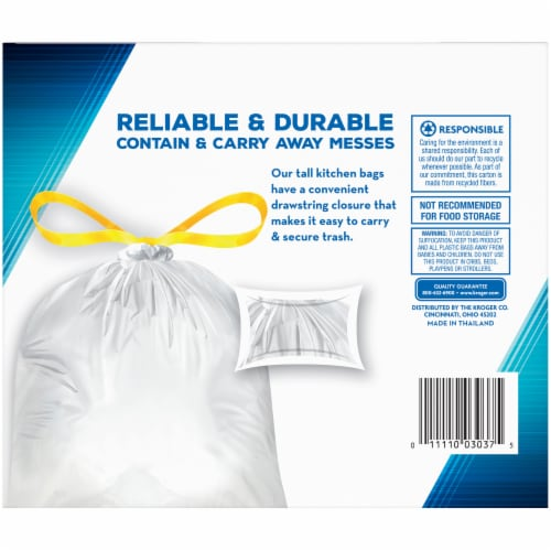 Kroger® Tall 13 Gallon Kitchen Drawstring Bags Perspective: back