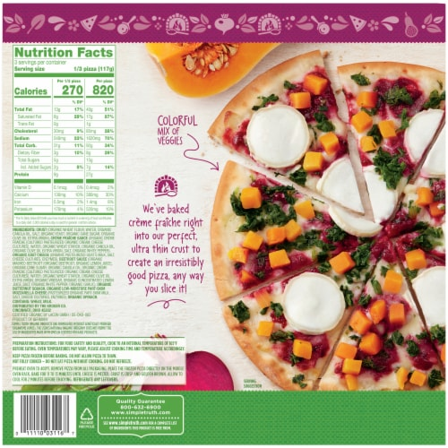 Simple Truth Organic® Goat Cheese & Beet Sauce Ultra-Thin Crust Pizza Perspective: back